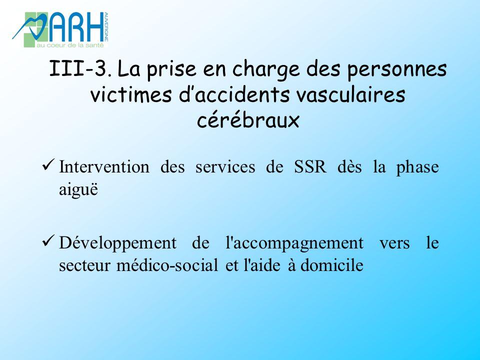 III-3. La prise en charge des personnes victimes daccidents vasculaires cérébraux Intervention des services de SSR dès la phase aiguë Développement de