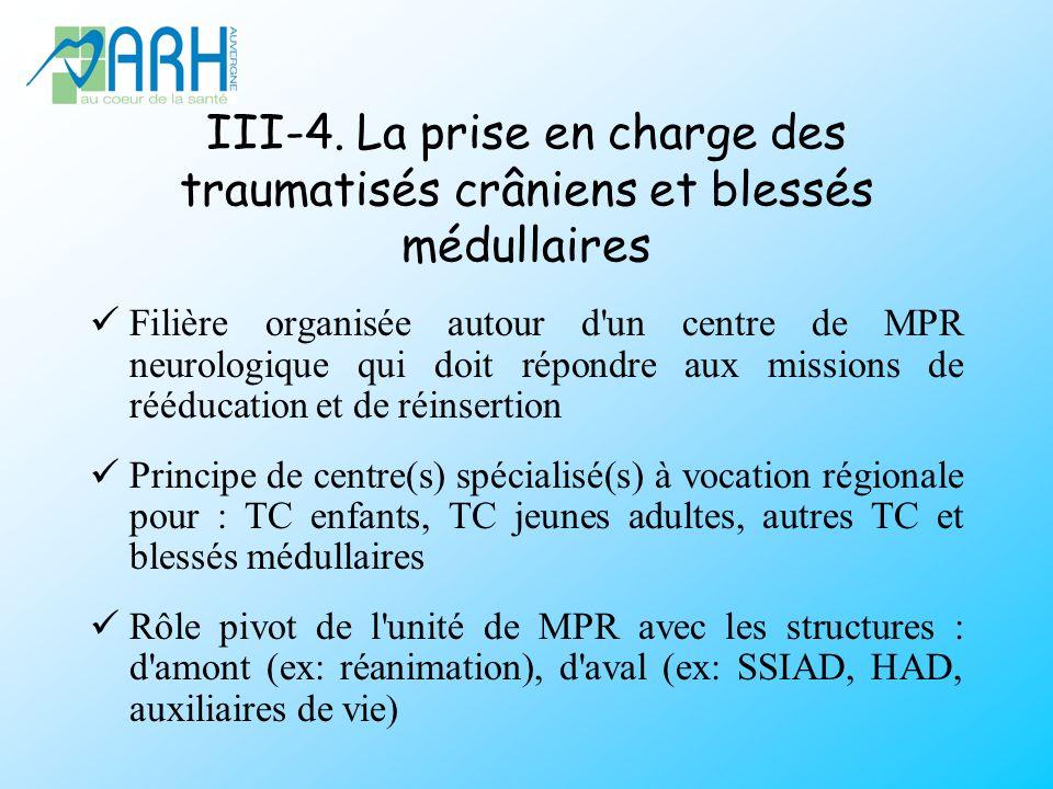 III-4. La prise en charge des traumatisés crâniens et blessés médullaires Filière organisée autour d'un centre de MPR neurologique qui doit répondre a