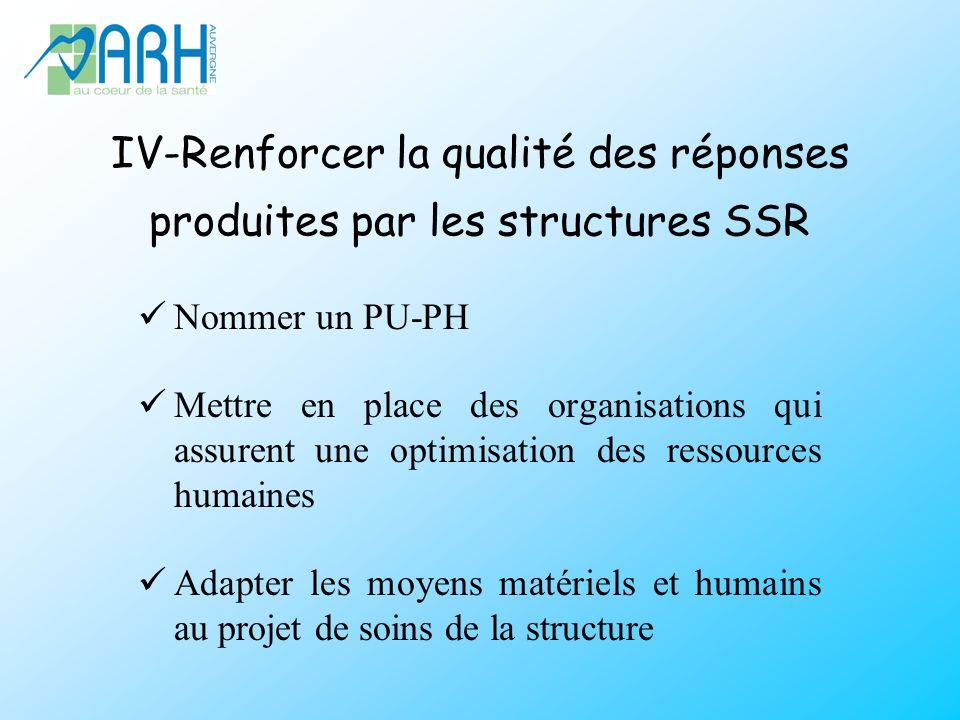IV-Renforcer la qualité des réponses produites par les structures SSR Nommer un PU-PH Mettre en place des organisations qui assurent une optimisation des ressources humaines Adapter les moyens matériels et humains au projet de soins de la structure
