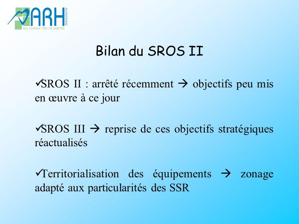 Bilan du SROS II SROS II : arrêté récemment objectifs peu mis en œuvre à ce jour SROS III reprise de ces objectifs stratégiques réactualisés Territorialisation des équipements zonage adapté aux particularités des SSR