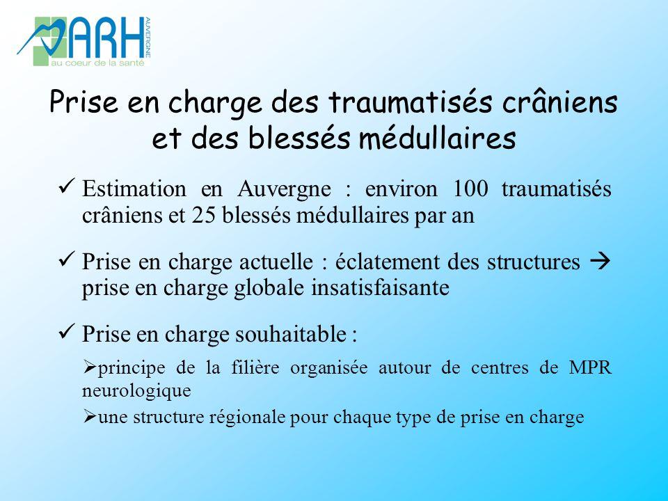 Prise en charge des traumatisés crâniens et des blessés médullaires Estimation en Auvergne : environ 100 traumatisés crâniens et 25 blessés médullaire