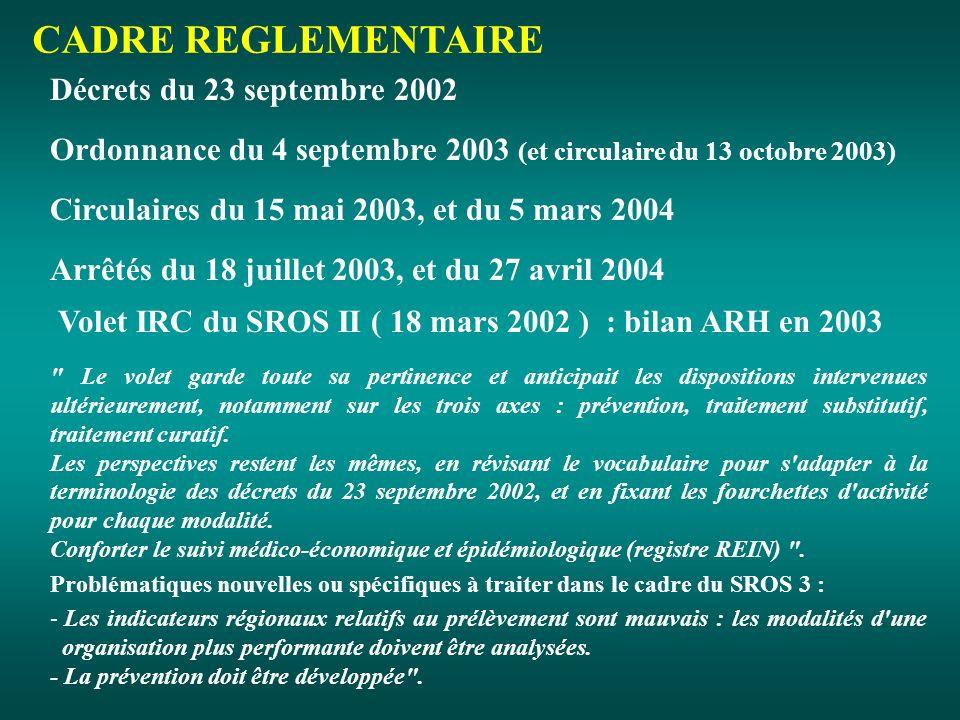 Volet IRC du SROS II ( 18 mars 2002 ) : bilan ARH en 2003 Le volet garde toute sa pertinence et anticipait les dispositions intervenues ultérieurement, notamment sur les trois axes : prévention, traitement substitutif, traitement curatif.