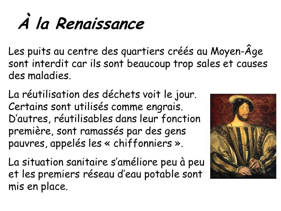 À la Renaissance Les puits au centre des quartiers créés au Moyen-Âge sont interdit car ils sont beaucoup trop sales et causes des maladies. La réutil