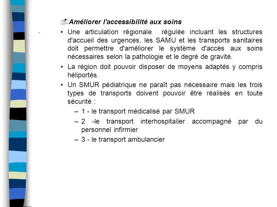 Améliorer l accessibilité aux soins Une articulation régionale régulée incluant les structures d accueil des urgences, les SAMU et les transports sanitaires doit permettre d améliorer le système d accès aux soins nécessaires selon la pathologie et le degré de gravité.