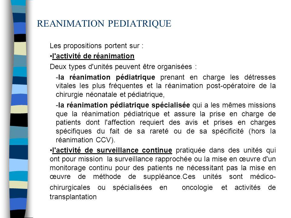 Les propositions portent sur : l'activité de réanimation Deux types d'unités peuvent être organisées : -la réanimation pédiatrique prenant en charge l