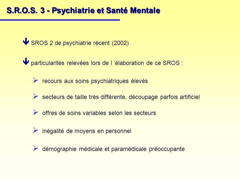 S.R.O.S. 3 - Psychiatrie et Santé Mentale SROS 2 de psychiatrie récent (2002) particularités relevées lors de l élaboration de ce SROS : recours aux s