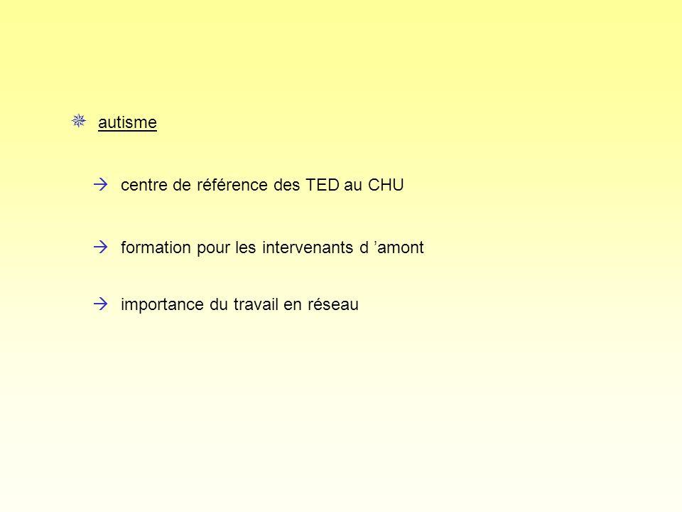 àcentre de référence des TED au CHU autisme àformation pour les intervenants d amont àimportance du travail en réseau