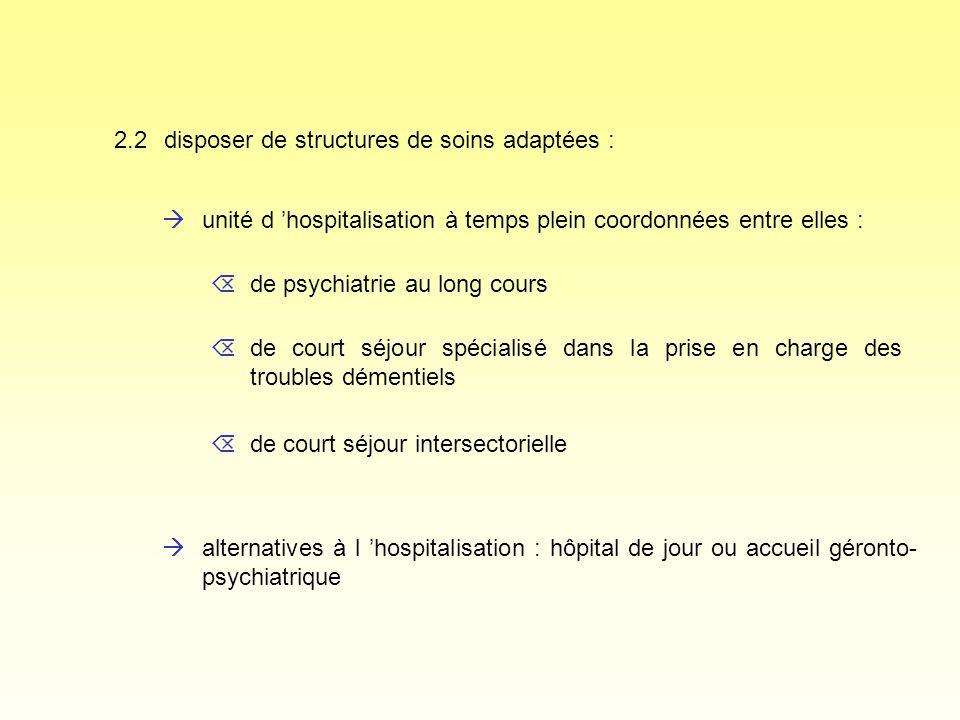 2.2 disposer de structures de soins adaptées : àunité d hospitalisation à temps plein coordonnées entre elles : àalternatives à l hospitalisation : hô