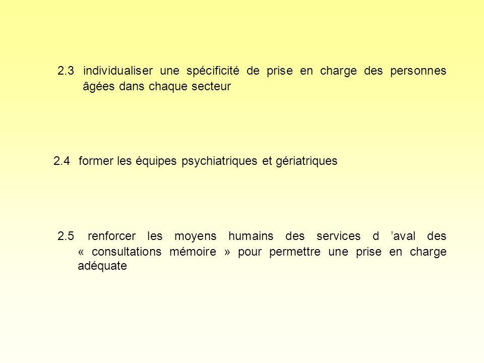 2.3 individualiser une spécificité de prise en charge des personnes âgées dans chaque secteur 2.4 former les équipes psychiatriques et gériatriques 2.