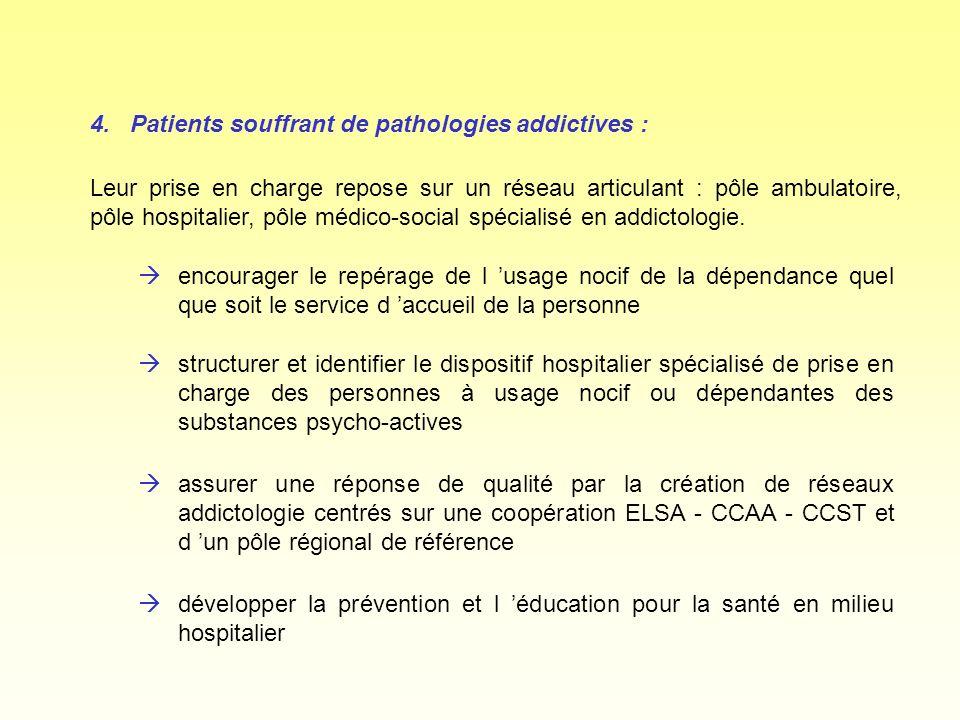 4.Patients souffrant de pathologies addictives : àencourager le repérage de l usage nocif de la dépendance quel que soit le service d accueil de la pe