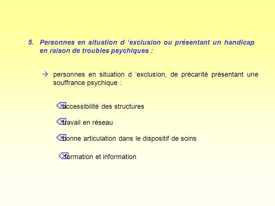 5.Personnes en situation d exclusion ou présentant un handicap en raison de troubles psychiques : àpersonnes en situation d exclusion, de précarité pr