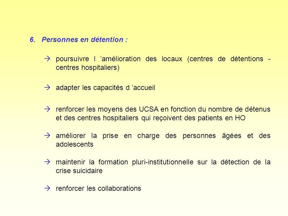 6.Personnes en détention : àpoursuivre l amélioration des locaux (centres de détentions - centres hospitaliers) àrenforcer les collaborations àmainten