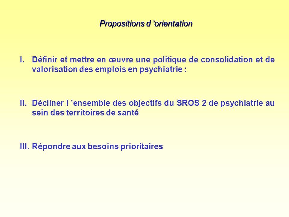 Propositions d orientation I.Définir et mettre en œuvre une politique de consolidation et de valorisation des emplois en psychiatrie : II.Décliner l ensemble des objectifs du SROS 2 de psychiatrie au sein des territoires de santé III.Répondre aux besoins prioritaires