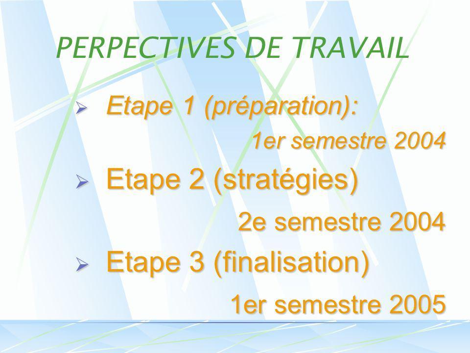 Etape 1 (préparation): Etape 1 (préparation): 1er semestre 2004 Etape 2 (stratégies) Etape 2 (stratégies) 2e semestre 2004 2e semestre 2004 Etape 3 (finalisation) Etape 3 (finalisation) 1er semestre 2005 1er semestre 2005 PERPECTIVES DE TRAVAIL