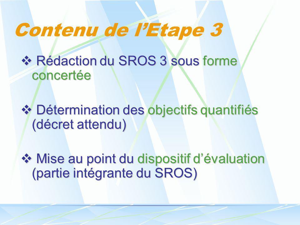 Contenu de lEtape 3 Rédaction du SROS 3 sous forme concertée Rédaction du SROS 3 sous forme concertée Détermination des objectifs quantifiés (décret a