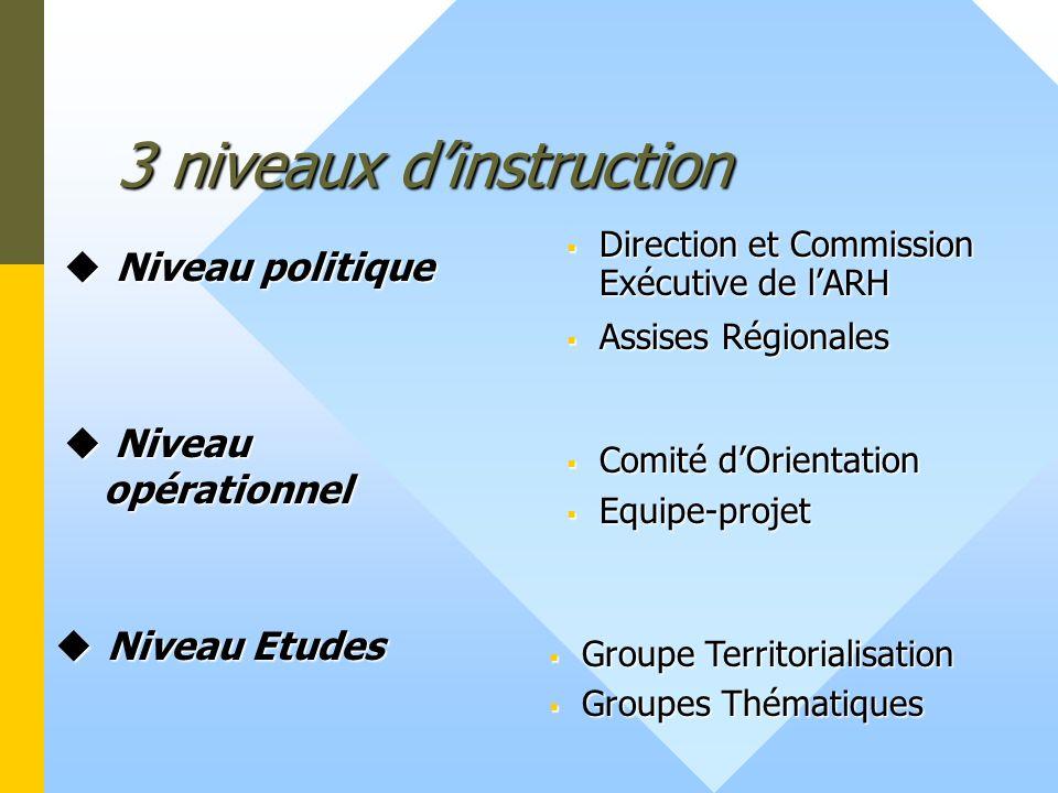 3 niveaux dinstruction Niveau opérationnel Niveau opérationnel Direction et Commission Exécutive de lARH Assises Régionales Comité dOrientation Comité