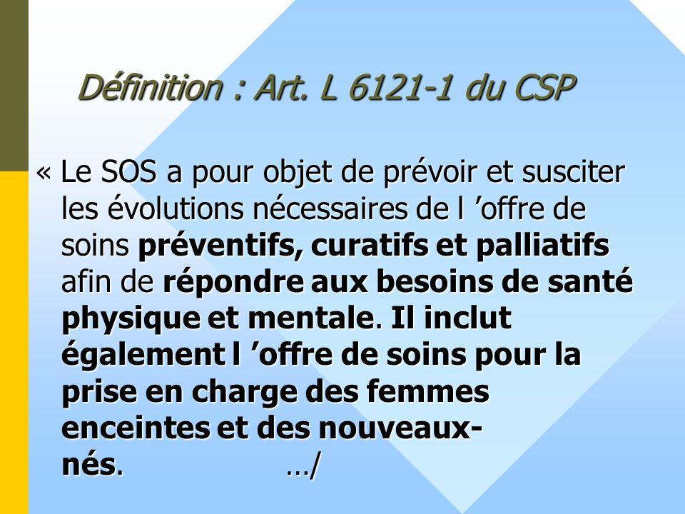 Définition : Art. L 6121-1 du CSP « Le SOS a pour objet de prévoir et susciter les évolutions nécessaires de l offre de soins préventifs, curatifs et