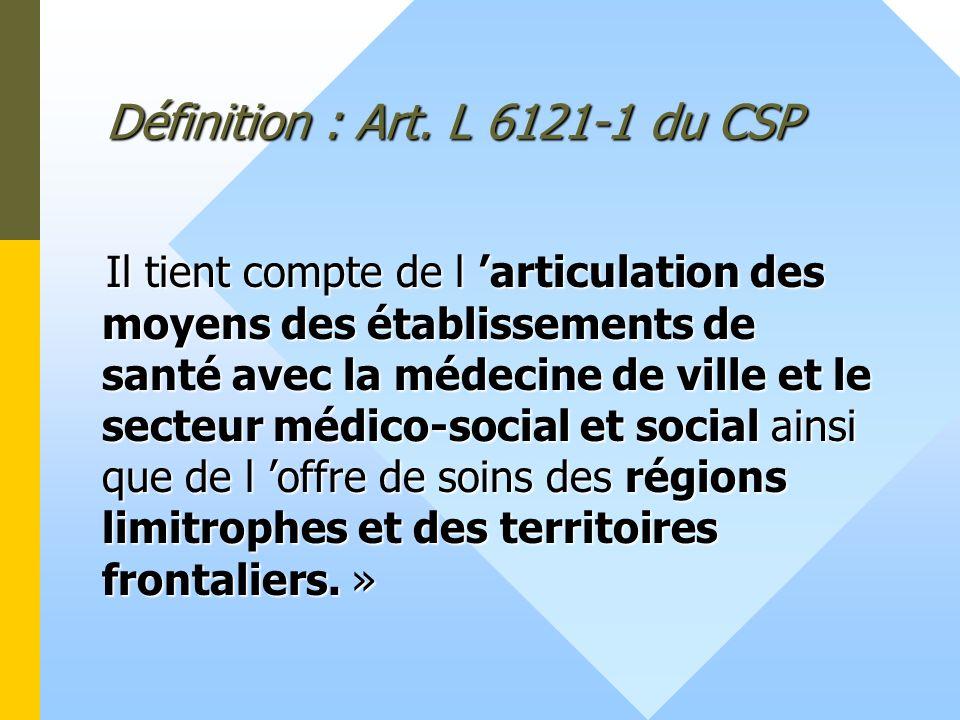 Définition : Art. L 6121-1 du CSP Il tient compte de l articulation des moyens des établissements de santé avec la médecine de ville et le secteur méd