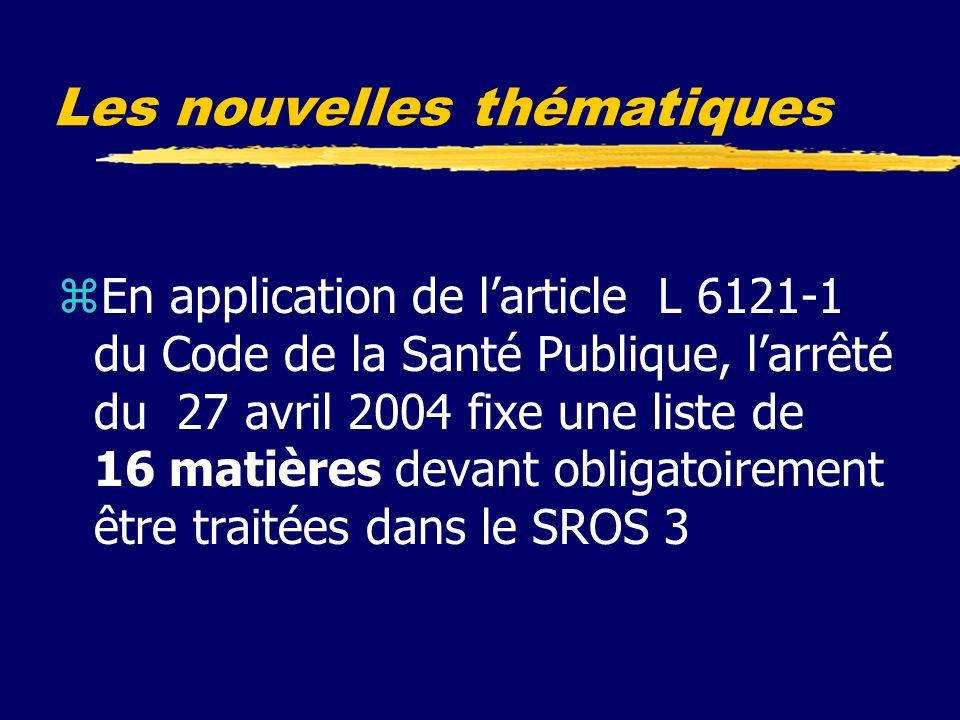 Les nouvelles thématiques zEn application de larticle L 6121-1 du Code de la Santé Publique, larrêté du 27 avril 2004 fixe une liste de 16 matières devant obligatoirement être traitées dans le SROS 3