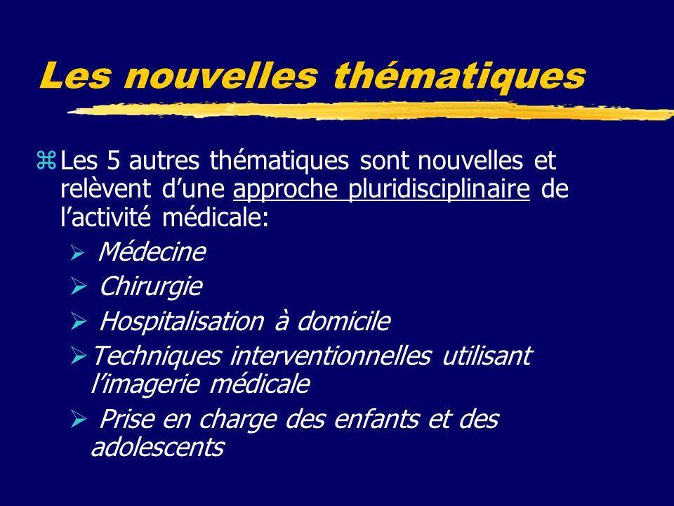 Les nouvelles thématiques zLes 5 autres thématiques sont nouvelles et relèvent dune approche pluridisciplinaire de lactivité médicale: Médecine Chirurgie Hospitalisation à domicile Techniques interventionnelles utilisant limagerie médicale Prise en charge des enfants et des adolescents