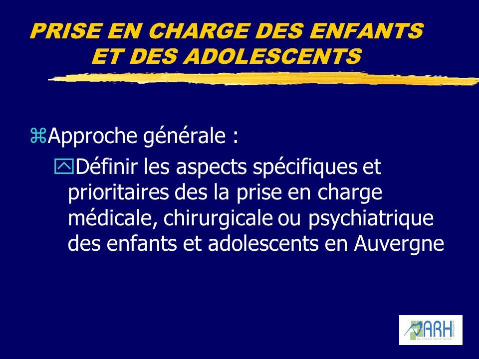 PRISE EN CHARGE DES ENFANTS ET DES ADOLESCENTS zApproche générale : yDéfinir les aspects spécifiques et prioritaires des la prise en charge médicale, chirurgicale ou psychiatrique des enfants et adolescents en Auvergne