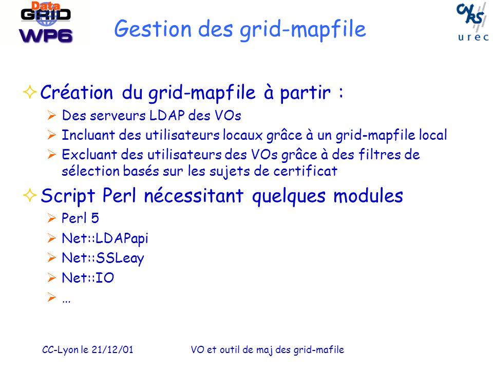CC-Lyon le 21/12/01VO et outil de maj des grid-mafile Gestion des grid-mapfile Création du grid-mapfile à partir : Des serveurs LDAP des VOs Incluant des utilisateurs locaux grâce à un grid-mapfile local Excluant des utilisateurs des VOs grâce à des filtres de sélection basés sur les sujets de certificat Script Perl nécessitant quelques modules Perl 5 Net::LDAPapi Net::SSLeay Net::IO …