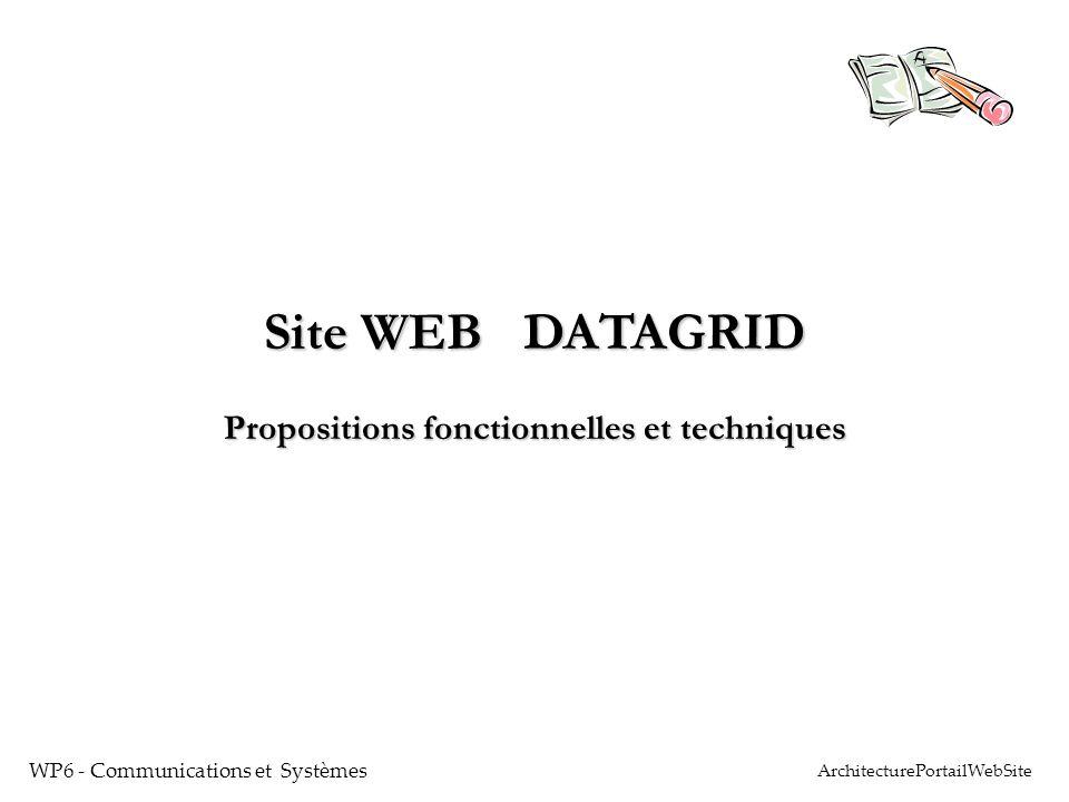 Site WEB DATAGRID Propositions fonctionnelles et techniques WP6 - Communications et Systèmes ArchitecturePortailWebSite