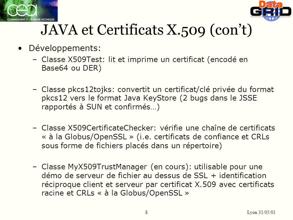 Lyon 31/05/01 8 JAVA et Certificats X.509 (cont) Développements: –Classe X509Test: lit et imprime un certificat (encodé en Base64 ou DER) –Classe pkcs12tojks: convertit un certificat/clé privée du format pkcs12 vers le format Java KeyStore (2 bugs dans le JSSE rapportés à SUN et confirmés…) –Classe X509CertificateChecker: vérifie une chaîne de certificats « à la Globus/OpenSSL » (i.e.