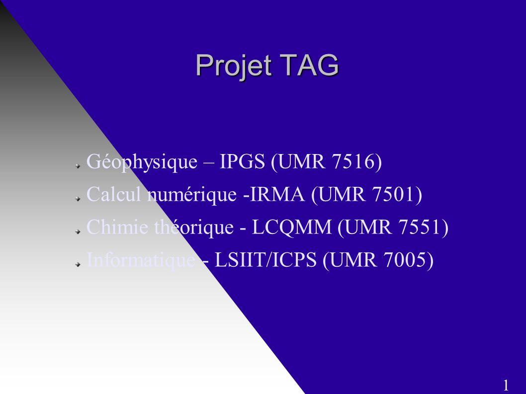 Projet TAG Projet TAG Géophysique – IPGS (UMR 7516) Calcul numérique -IRMA (UMR 7501) Chimie théorique - LCQMM (UMR 7551) Informatique - LSIIT/ICPS (UMR 7005) 1