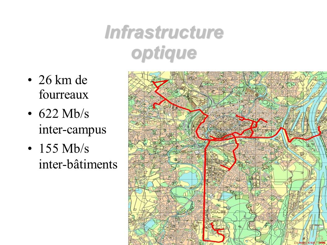 Infrastructure optique 26 km de fourreaux 622 Mb/s inter-campus 155 Mb/s inter-bâtiments