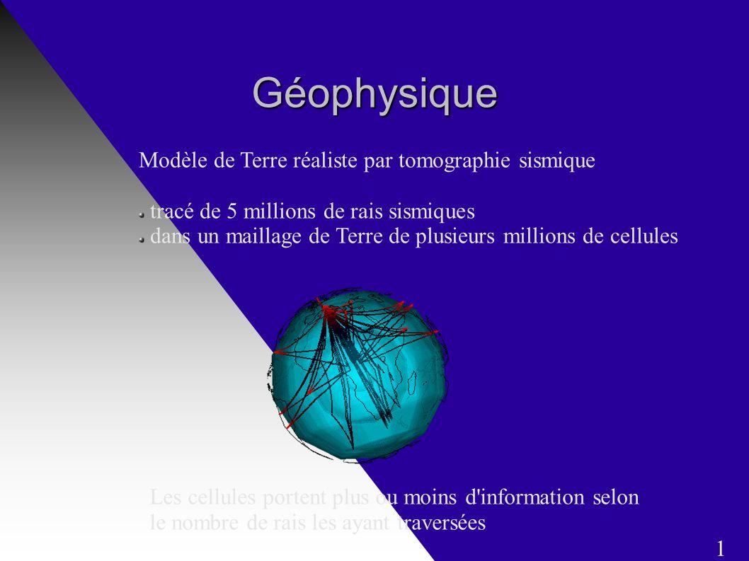Géophysique Modèle de Terre réaliste par tomographie sismique tracé de 5 millions de rais sismiques dans un maillage de Terre de plusieurs millions de cellules Les cellules portent plus ou moins d information selon le nombre de rais les ayant traversées 1