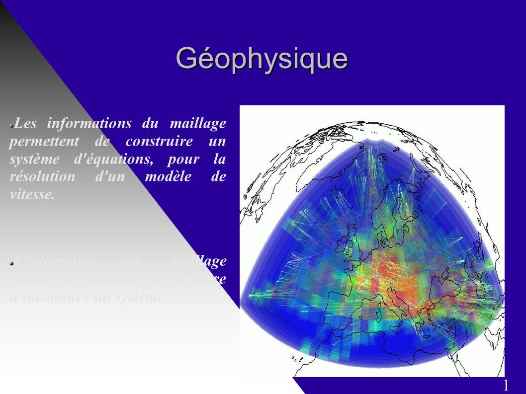 Géophysique Les informations du maillage permettent de construire un système d équations, pour la résolution d un modèle de vitesse.