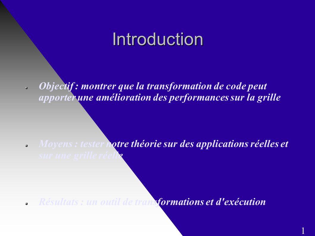Introduction Objectif : montrer que la transformation de code peut apporter une amélioration des performances sur la grille Moyens : tester notre théorie sur des applications réelles et sur une grille réelle Résultats : un outil de transformations et d exécution 1