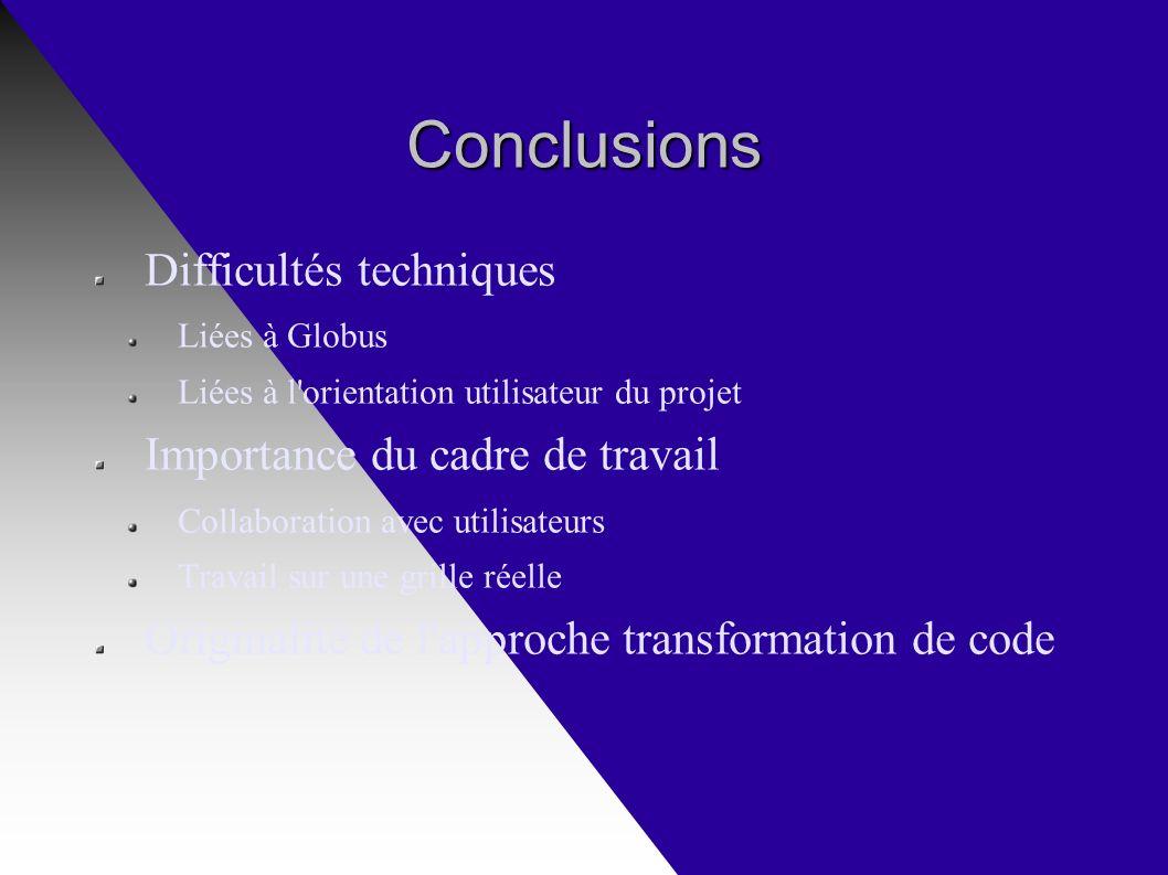 Conclusions Difficultés techniques Liées à Globus Liées à l orientation utilisateur du projet Importance du cadre de travail Collaboration avec utilisateurs Travail sur une grille réelle Originalité de l approche transformation de code