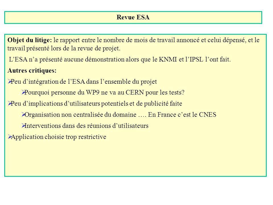 Revue ESA Objet du litige: le rapport entre le nombre de mois de travail annoncé et celui dépensé, et le travail présenté lors de la revue de projet.