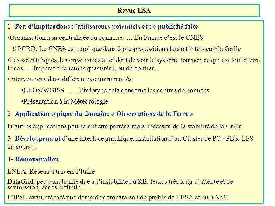 WP9: Etat de la situation Démonstration de décembre 2002 1- OBJECTIF KNMI et ESA extraient des profils dOzone(lv2) à partir des données de linstrument satellitale GOME (lv1) avec 2 méthodes différentes (OPERA: basée sur la physique, et NOPREGO, basée sur un réseau de Neurones) sur lensemble du Globe pour une période qui va de quelques mois à 1 an IPSL: sélectionne les profils sur des critères de date, latitude et longitude, et compare les profils sélectionnés aux profils obtenus par le Lidar (instrument laser au sol) 2- LISTE des opérations à effectuer - ESA met les données lv1 accessible via un serveur - Le catalogue de Meta Données lv1, qui existe (MUIS), accessible par la grille - Portage des programmes sur la grille - Stockage des profils dOzone - Création dun catalogue de MetaData et utilisation de Spitfire - Stockage des données Lidar sur le SE de lIPSL -Portage du programme de validation sur la grille -Sélection des profils + Validation