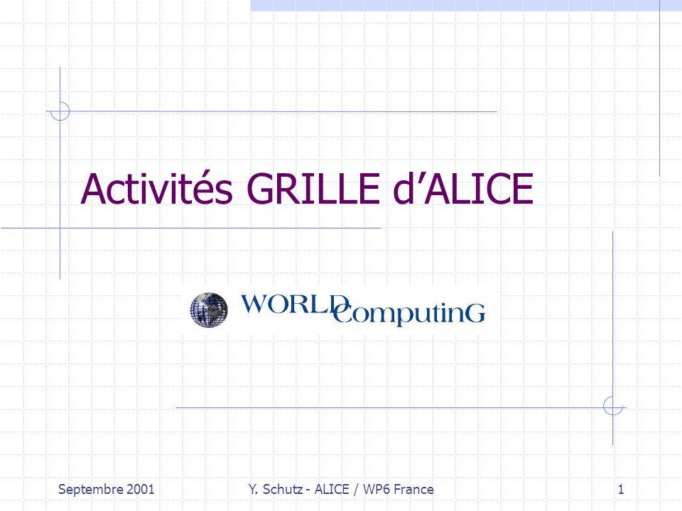 Septembre 2001Y. Schutz - ALICE / WP6 France1 Activités GRILLE dALICE