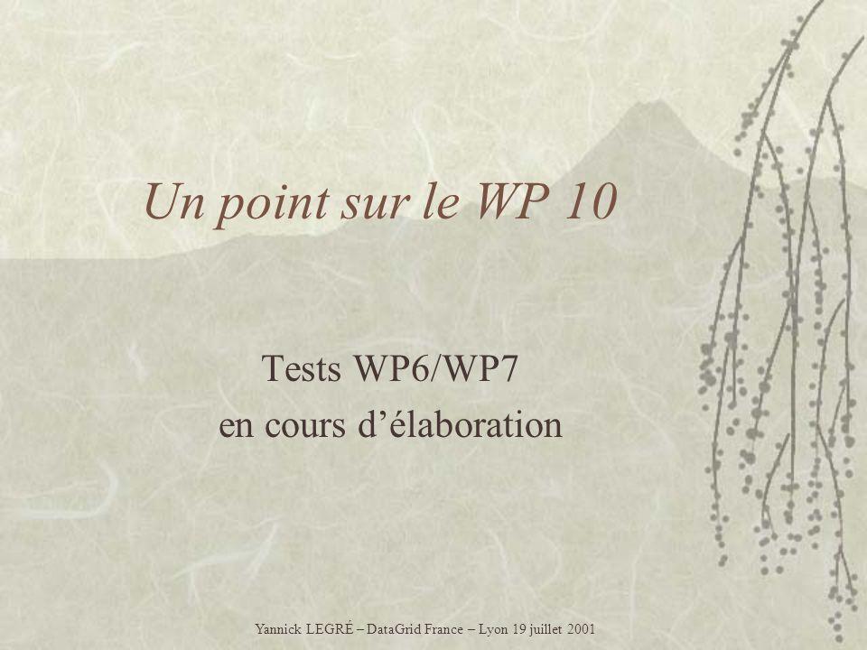 Un point sur le WP 10 Tests WP6/WP7 en cours délaboration Yannick LEGRÉ – DataGrid France – Lyon 19 juillet 2001