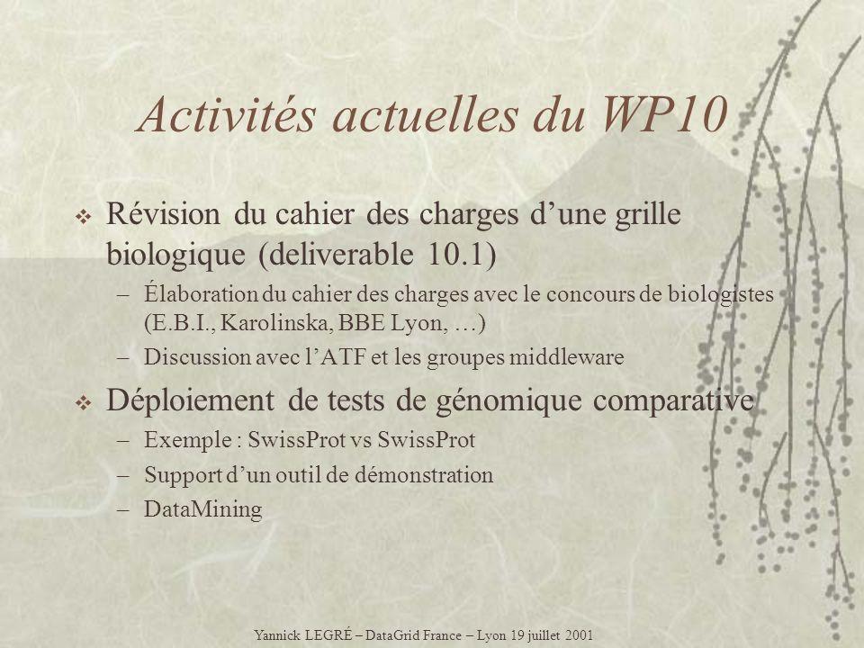 Activités actuelles du WP10 Révision du cahier des charges dune grille biologique (deliverable 10.1) –Élaboration du cahier des charges avec le concou
