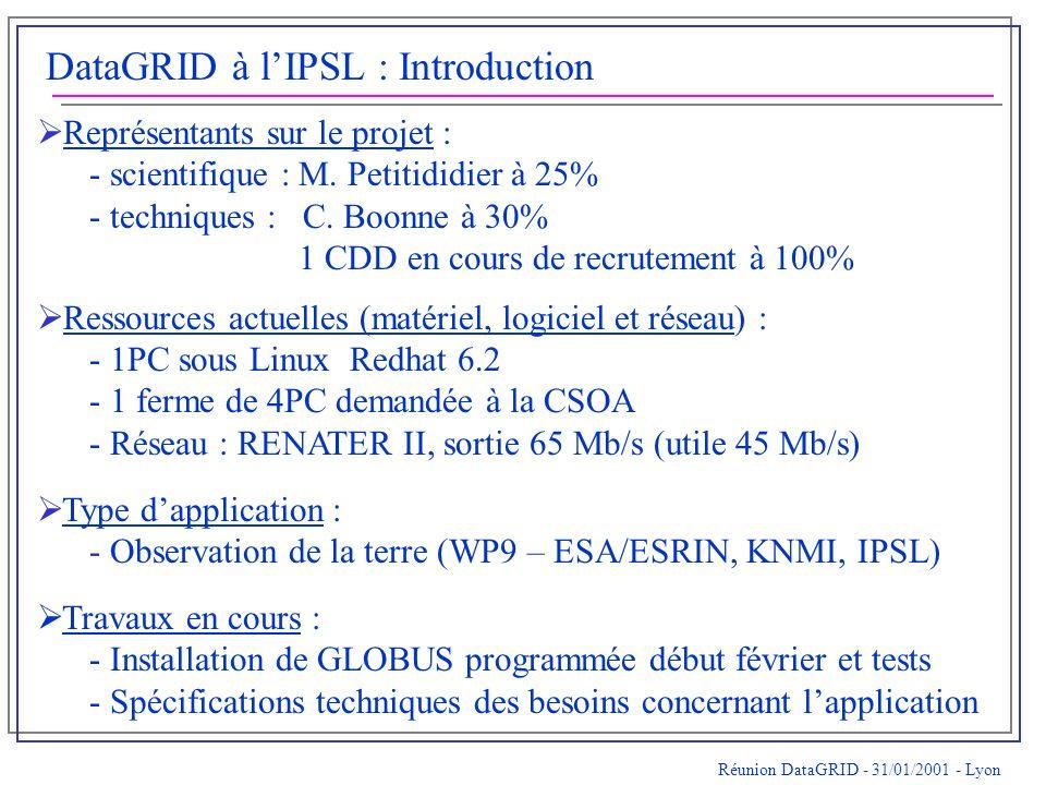 DataGRID à lIPSL : Introduction Représentants sur le projet : - scientifique : M.