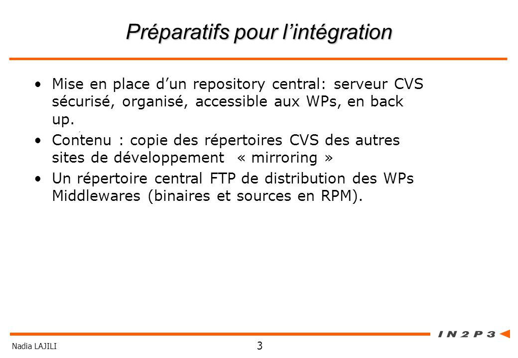 Nadia LAJILI 3 Préparatifs pour lintégration Mise en place dun repository central: serveur CVS sécurisé, organisé, accessible aux WPs, en back up. Con