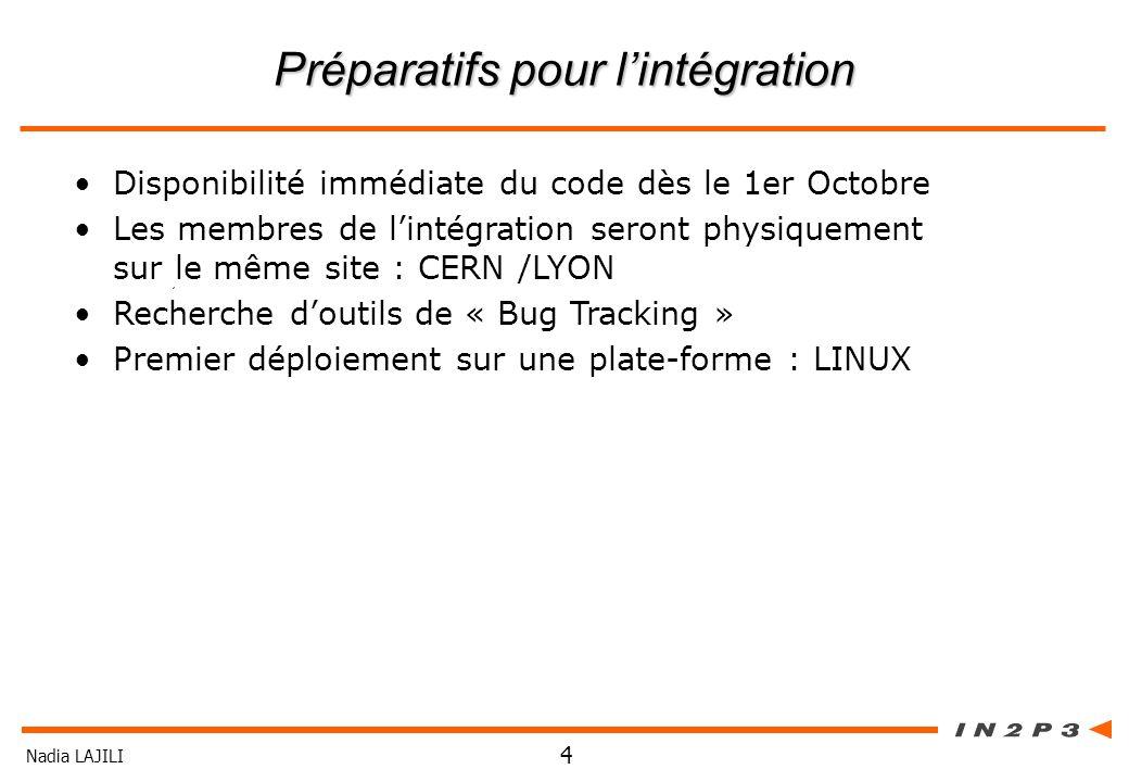 Nadia LAJILI 4 Préparatifs pour lintégration Disponibilité immédiate du code dès le 1er Octobre Les membres de lintégration seront physiquement sur le
