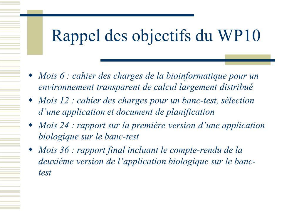 Rappel des objectifs du WP10 Mois 6 : cahier des charges de la bioinformatique pour un environnement transparent de calcul largement distribué Mois 12