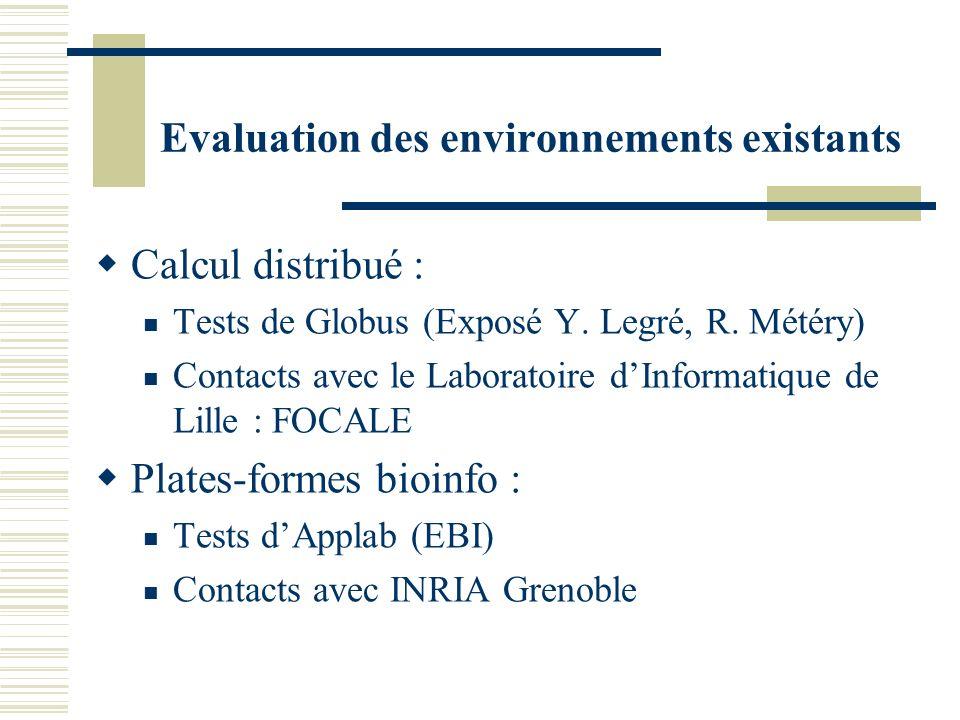 Evaluation des environnements existants Calcul distribué : Tests de Globus (Exposé Y. Legré, R. Météry) Contacts avec le Laboratoire dInformatique de