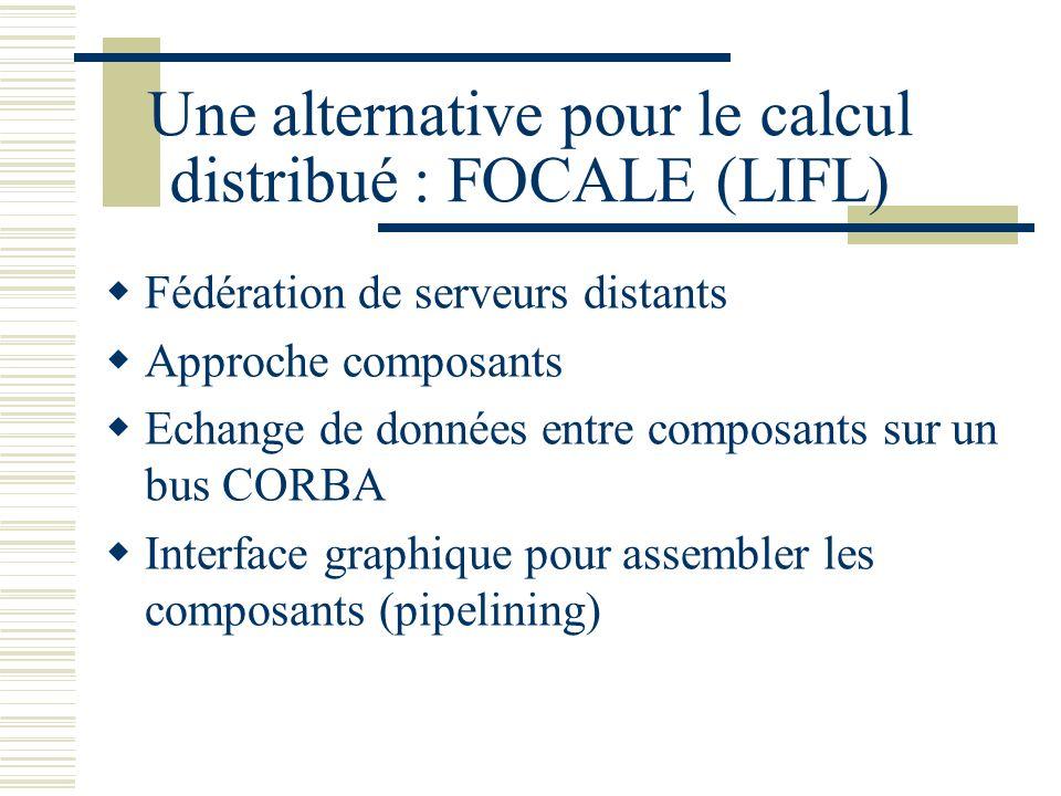 Une alternative pour le calcul distribué : FOCALE (LIFL) Fédération de serveurs distants Approche composants Echange de données entre composants sur u