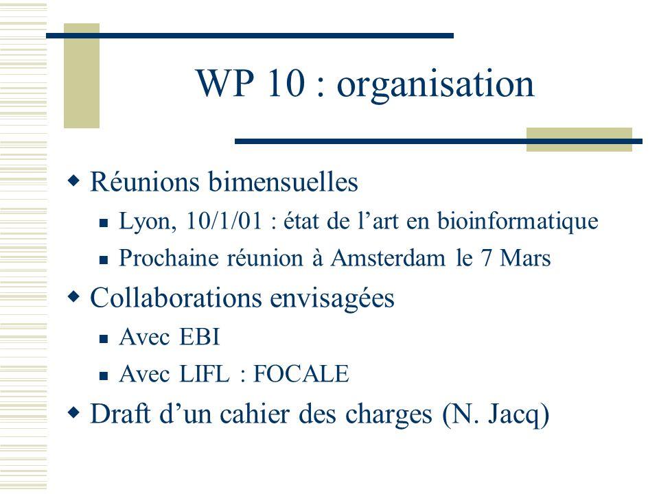 WP 10 : organisation Réunions bimensuelles Lyon, 10/1/01 : état de lart en bioinformatique Prochaine réunion à Amsterdam le 7 Mars Collaborations envi
