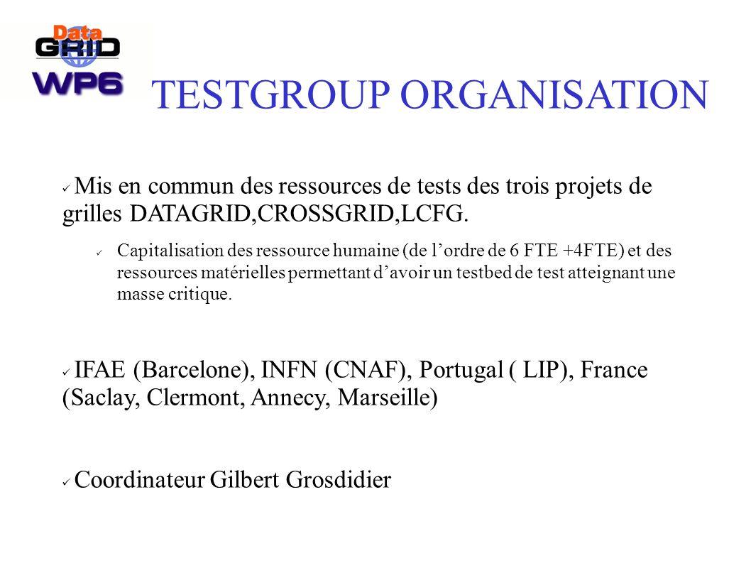 TESTGROUP ORGANISATION Mis en commun des ressources de tests des trois projets de grilles DATAGRID,CROSSGRID,LCFG.
