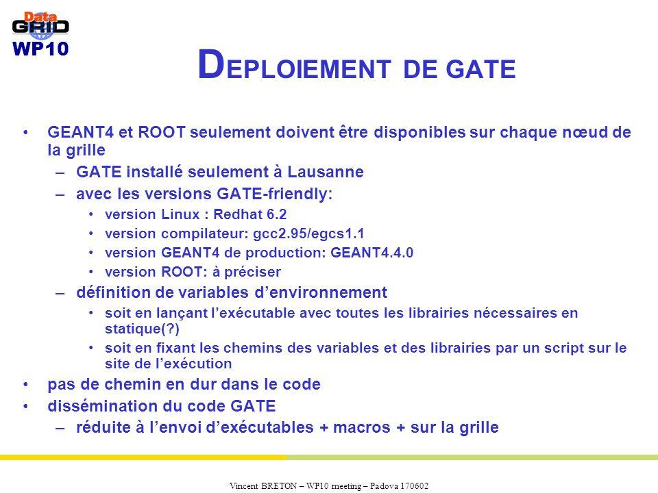 WP10 Vincent BRETON – WP10 meeting – Padova 170602 D EPLOIEMENT DE GATE GEANT4 et ROOT seulement doivent être disponibles sur chaque nœud de la grille –GATE installé seulement à Lausanne –avec les versions GATE-friendly: version Linux : Redhat 6.2 version compilateur: gcc2.95/egcs1.1 version GEANT4 de production: GEANT4.4.0 version ROOT: à préciser –définition de variables denvironnement soit en lançant lexécutable avec toutes les librairies nécessaires en statique(?) soit en fixant les chemins des variables et des librairies par un script sur le site de lexécution pas de chemin en dur dans le code dissémination du code GATE –réduite à lenvoi dexécutables + macros + sur la grille