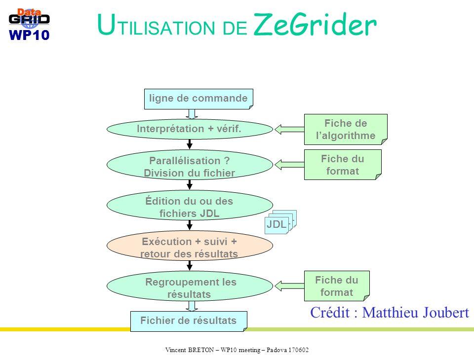 WP10 Vincent BRETON – WP10 meeting – Padova 170602 U TILISATION DE ZeGrider Interprétation + vérif.