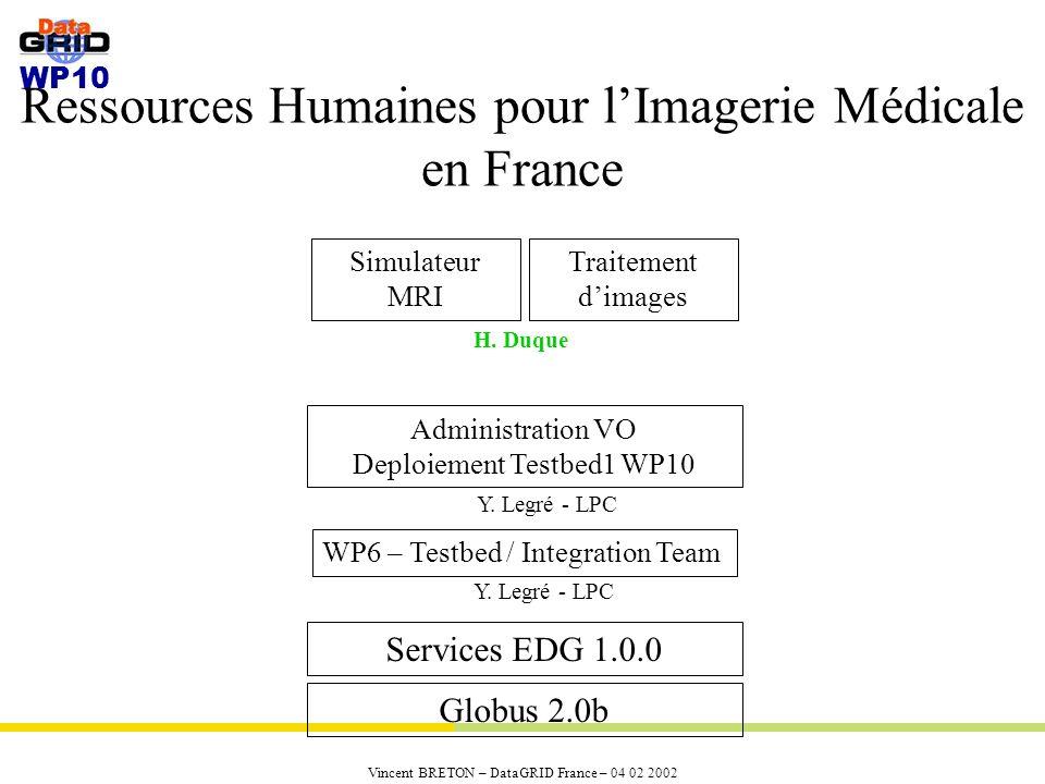 WP10 Vincent BRETON – DataGRID France – 04 02 2002 Ressources Humaines pour lImagerie Médicale en France Globus 2.0b Services EDG 1.0.0 Simulateur MRI Traitement dimages Administration VO Deploiement Testbed1 WP10 Y.